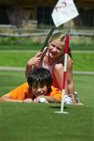 Putt putt golf is a popular family activity.