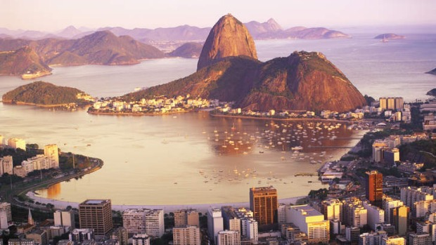 Skyline of Rio De Janeiro with Sugarloaf mountain in the background.