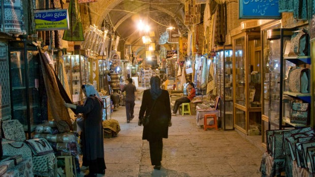 Night in the bazaar in Esfahan, Iran.