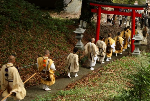 Buddhist monks mark the annual ceremony of Mount Fuji opening to the public.