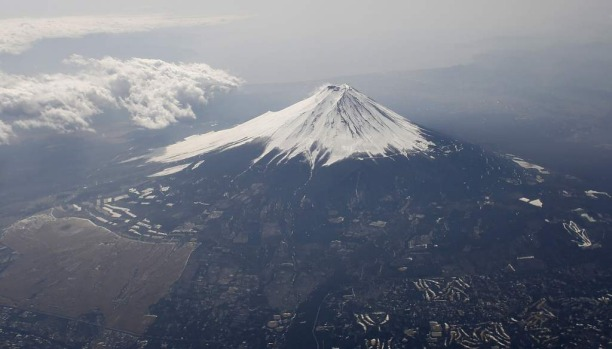 Mount Fuji covered with snow in March.