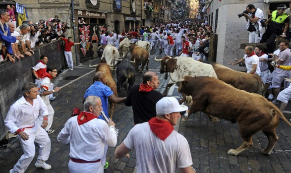 Participants run in front of Alcurrucen's bulls during the first bull run of the San Fermin Festival.