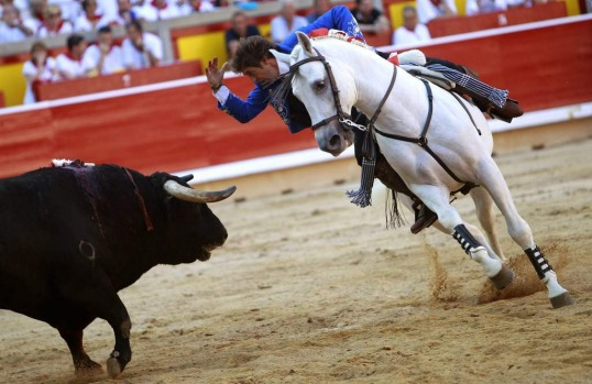 Spanish rejoneador (bullfighter on horseback) Pablo Hermoso de Mendoza fights a bull at the Plaza de Toros on the first ...
