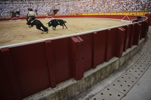 Spanish mounted bullfighter Roberto Armendariz, during a horseback bullfight at San Fermin Fiestas, in Pamplona.