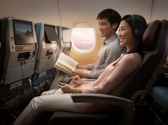 Singapore Airlines economy class.