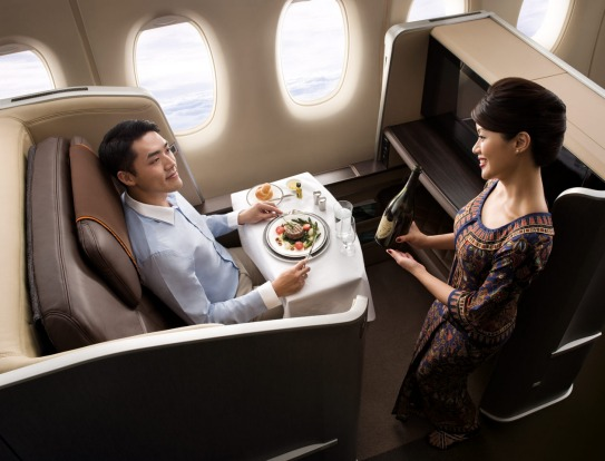 Business class on Singapore Airlines. The airline has been ranked No.1 for customer service on international flights by ...