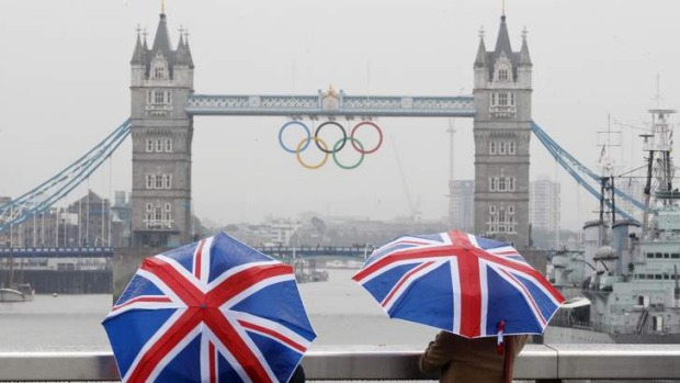 UK tourism's English summer: Tower Bridge adorned with the Olympic rings in 2012.