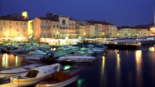 The old port of Saint Tropez at dusk.