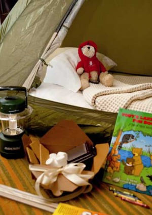 The Ritz Carlton at Lake Tahoe's kids indoor campout amenities.
