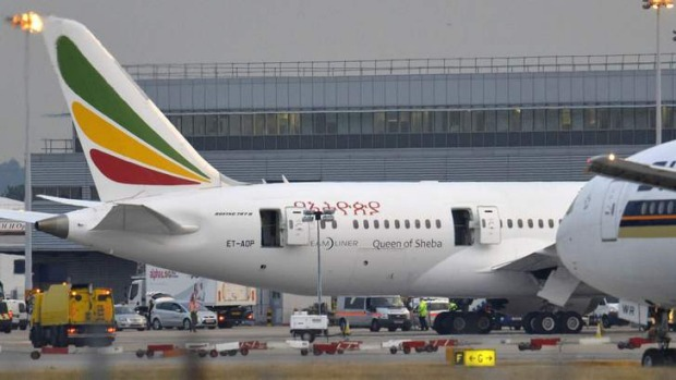 The Ethiopian Airlines Boeing 787 Dreamliner that caught fire at Heathrow airport.