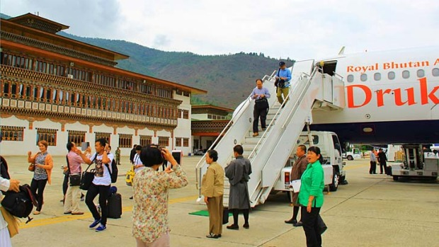 Drukair's home base of Paro International Airport is mediocre inside, but the traditional architecture is beautiful.
