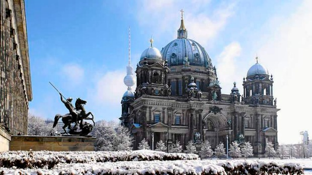 Winter wonderland: The Altes Museum in Berlin.