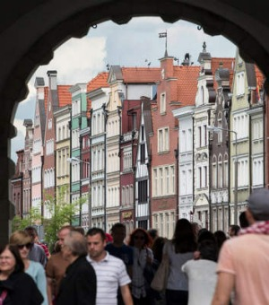 A view through the Green Gate of Gdansk Old Town.