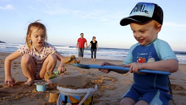 Family holidays: Samantha and Luke O'Connor with kids Sienna, 6, and Lincoln, 3.