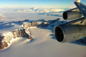 Spectacular views are on offer on an Antarctica sightseeing flight, from the comfort of a Qantas 747 jumbo jet.