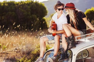 UNWIND. Young Couple enjoying Road Trip iStock Photo File #22718361