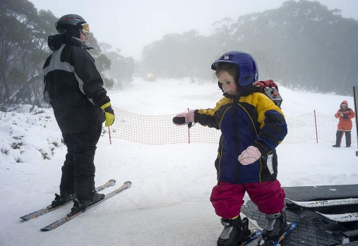A little visitor to Mount Baw Baw's Alpine Resort takes a steady step onto the slopes.