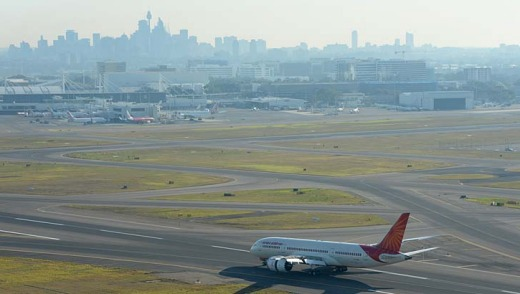 The Air India Dreamliner at Sydney Airport after landing on Friday morning.