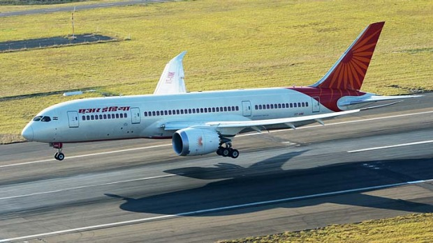The Air India Dreamliner touches down at Sydney Airport. Air India is the first airline to fly one of Boeing's new 787 ...