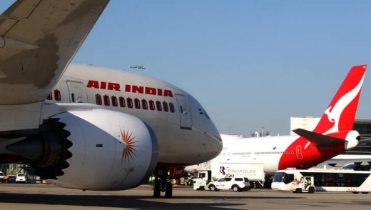 The Air India Dreamliner heads to the gate at Sydney Airport.
