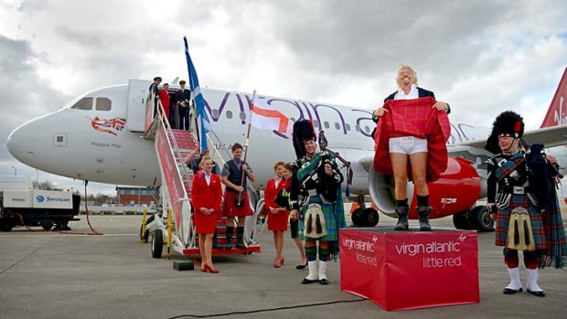 Richard Branson at the launch of the Virgin domestic airline in the UK, Little Red.