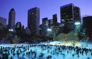 Skaters at Wollman Rink, in  New York's Central Park.