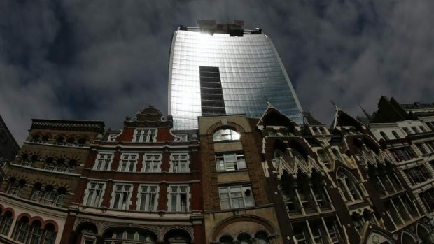 Sunlight is reflected from the Walkie Talkie tower in central London. The skyscraper reflects sunlight at such intense ...