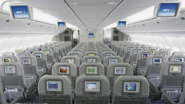 JAL's economy class seating aboard its Boeing 777-200.