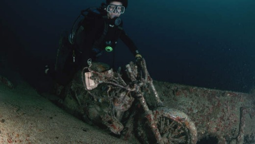 A sunken WWII Japanese motorcycle.