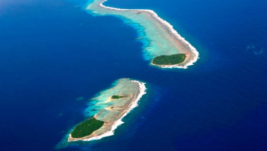 An aerial View of the Chuuk Atoll Islands.