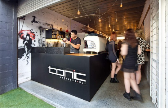 Fortitude Valley Fringe, Brisbane. Tonic Espresso + Bar is located down a laneway in one half of an architecture and ...