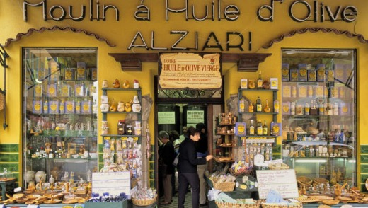 City scenes: an olive shop in the Old Town of Nice.
