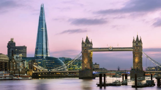 Past and present: The Shard, London Bridge and Tower Bridge at dusk.