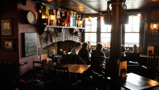 The interior of Prospect of Whitby pub, Limehouse.