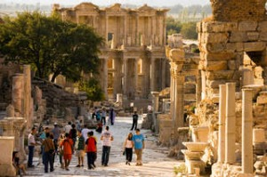 AXW2TR Curetes Street and Library of Celsus, completed in AD 135. Ephesus, Turkey. Image shot 2007. Exact date unknown. ...