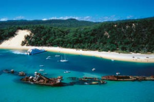 SHD TRAVEL September 15 CRUISE REPORT. pg 4 - Katrina Lobley. 101177 Aerial of Tangalooma Wrecks Moreton Island Region: ...
