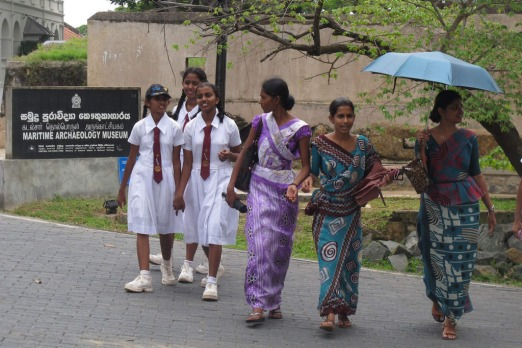 Schoolgirls on excursion with their teachers in Galle.