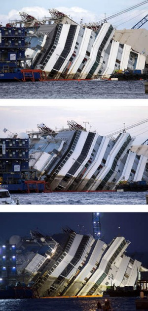 Slow and steady ...  at 12.04 GMT, 16.33 and 17.52,  the delicate operation to rotate the Costa Concordia from its capsized position to upright  stretched  into Tuesday.