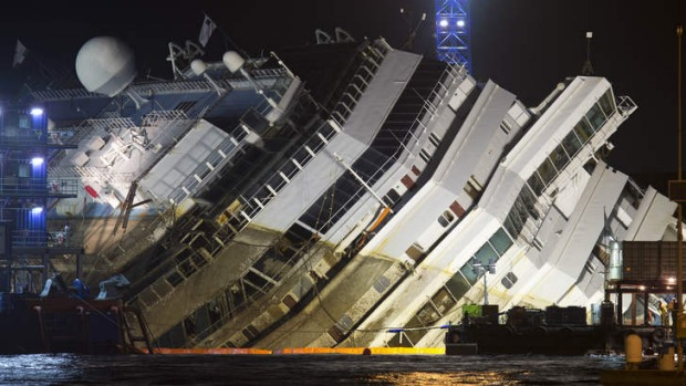 In an unprecedented maritime salvage operation, engineers on Monday gingerly wrestled the hull of the shipwrecked Costa Concordia off the Italian reef where the cruise ship has been stuck since January 2012.