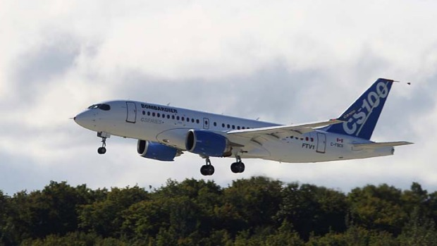 Bombardier's CSeries aircraft takes off for its first test flight in Mirabel, Quebec.