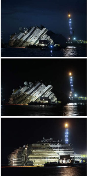 "The Costa Concordia during and at the end of the ""parbuckling"" operation outside Giglio harbour."