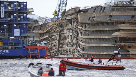 Upright: the wreck of the Costa Concordia cruise ship.