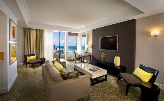 The Surfers Paradise Marriott Resort and Spa deluxe suite.