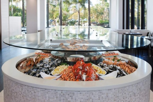 The Surfers Paradise Marriott Resort and Spa seafood section of the Citrique lunch buffet.