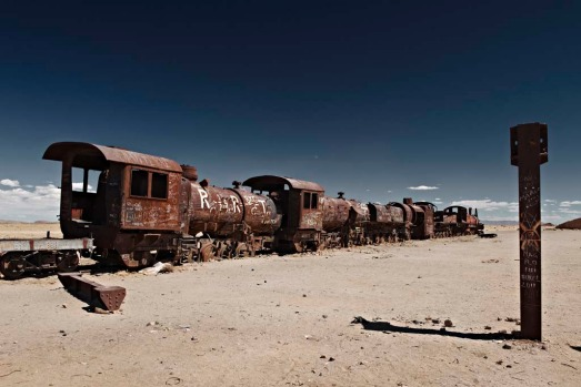 The Uyuni train boneyard. Where: Uyuni, Bolivia. In Bolivia's south-western altiplano, a collection of old locomotives ...