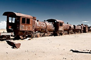 Uyuni train graveyard, Bolivia