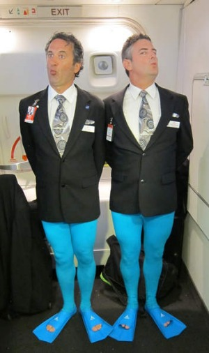 Ray Galea and Damien O'Connor as blue-footed boobies.