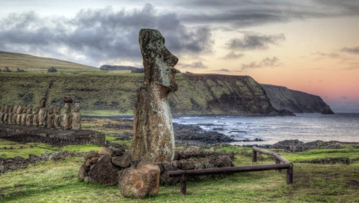 The enigmatic statues on Easter Island.