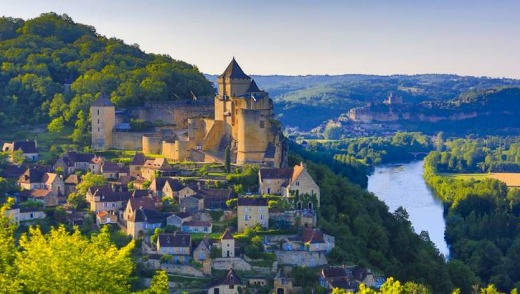Milandes Castle above the Dordogne river in Beynac et Cazenac, one of the most beautiful villages of France.