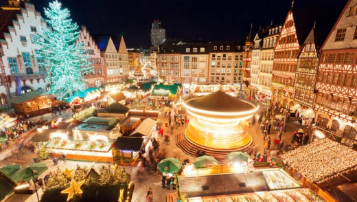 Christmas market at Romerburg Square, Frankfurt, Germany.
